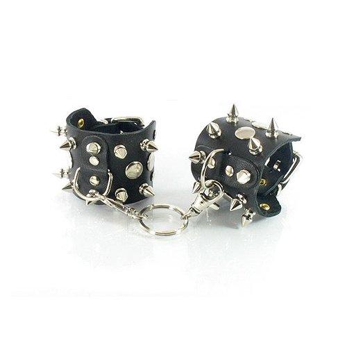 Купить наручники секс шоп -Кожаные наручники с шипами