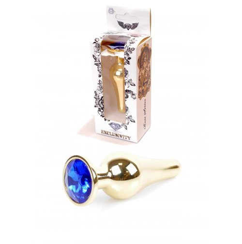 Купить анальную пробку Jewellery Gold Plug Dark Blue