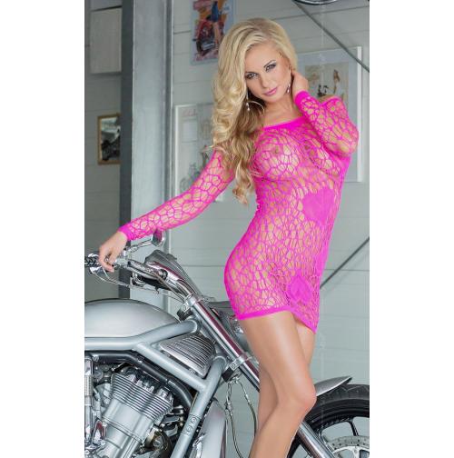 Короткое розовое платье в сетку Sweetheart, neon pink фото №1 | секс-шоп Фантазия